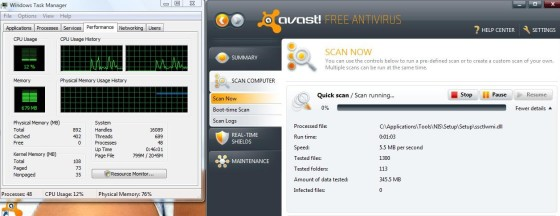 Avast is light on system resources