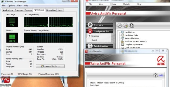 Avira Antivir Personal has very low CPU usage
