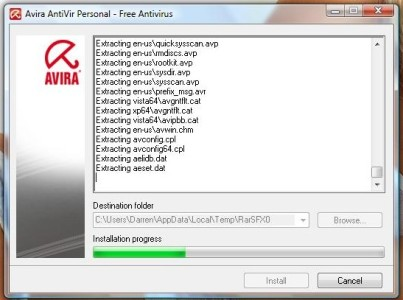 Installation of Avira Antivir is very quick