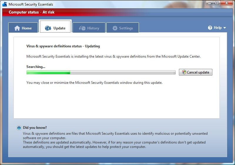 MSE antivirus updates itself straight after installation