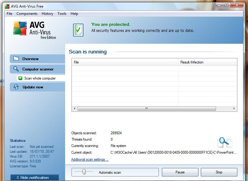 AVG scan in operation