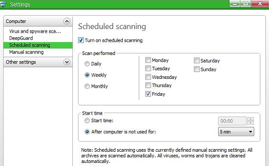 F-Secure Antivirus 2011 scheduled scan