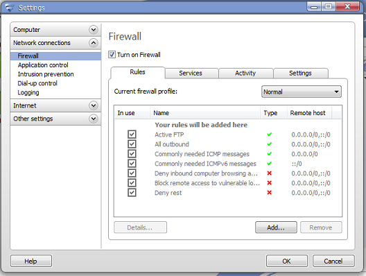 F-Secure Internet Security 2011 Firewall options