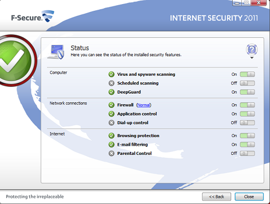 F-Secure Internet Security 2011 interface