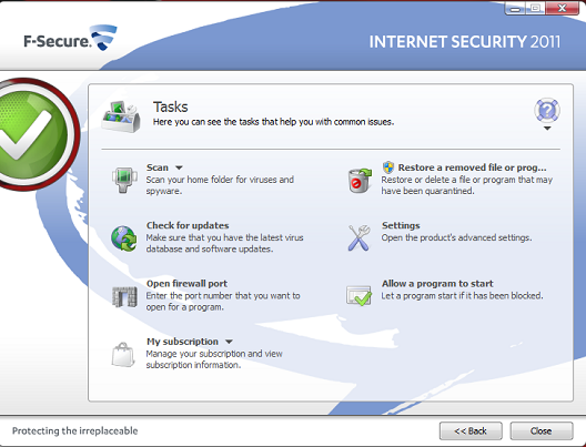 F-Secure Internet Security Tasks