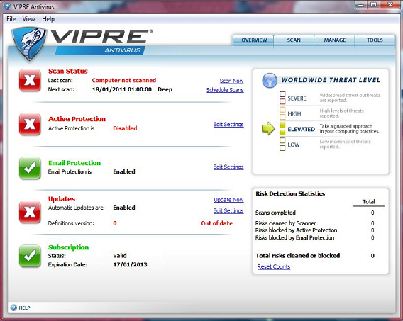 Vipre Antivirus interface