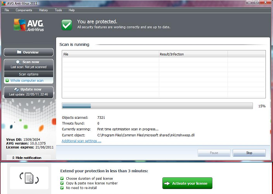 AVG Antivirus 2011 interface and scanning