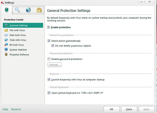 Kaspersky Antivirus 2012 settings