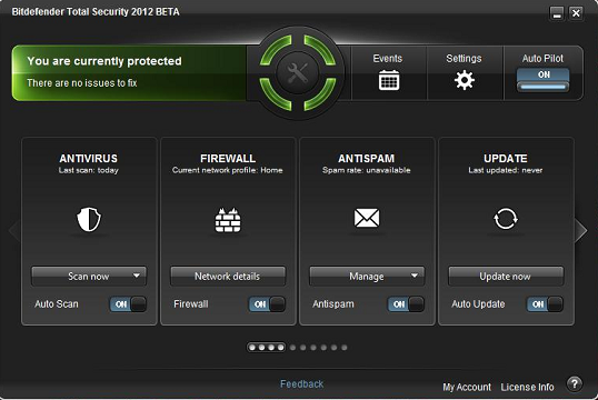 BitDefender Total Security 2012 interface