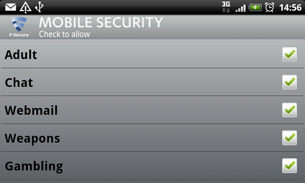 F-Secure Mobile Security parental control settings