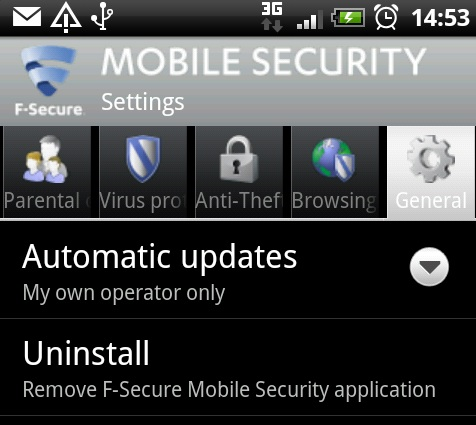 F-Secure Mobile Security settings