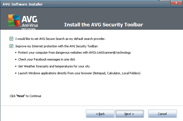 AVG Anti-Virus Free 2012 toolbar