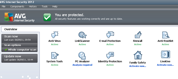 AVG Internet Security 2012 dashboard