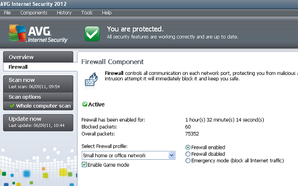 AVG Internet Security 2012 game mode