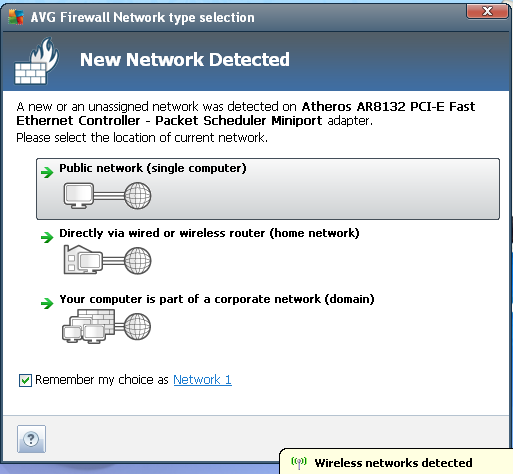 AVG Internet Security 2012 network detection