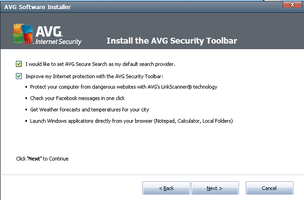 AVG Internet Security 2012 toolbar