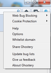 Ghostery options