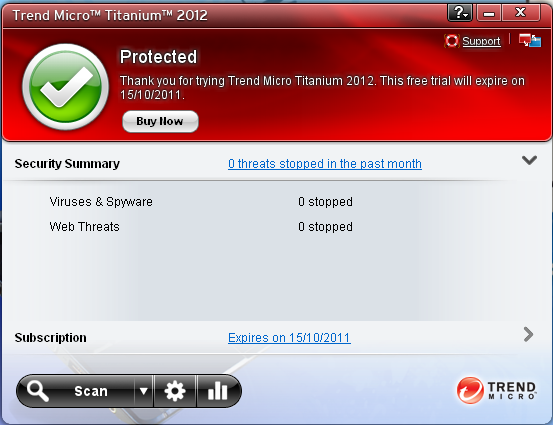 Trend Micro Titanium Antivirus Plus 2012 interface