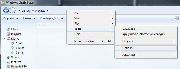 Windows Media Player 12 Privacy tab
