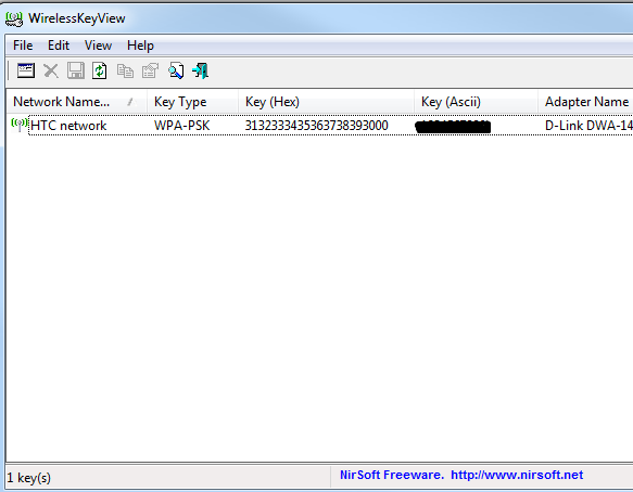 recover a lost wireless key with WirelessKeyView