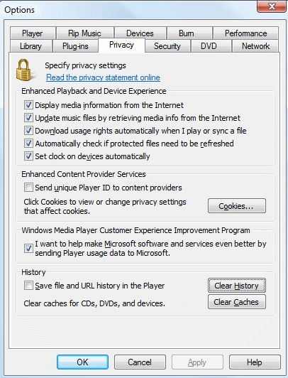deleting history in Windows Media Player 12