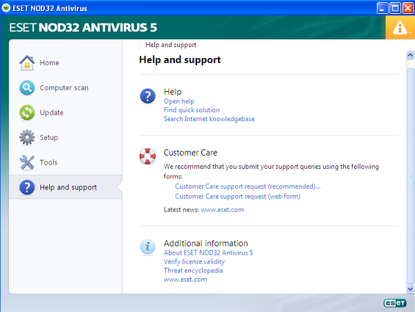 ESET NOD32 Antivirus 5 help and support