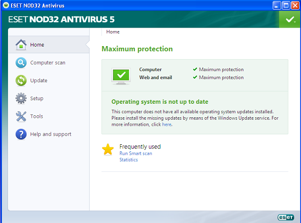 ESET NOD32 Antivirus 5 interface