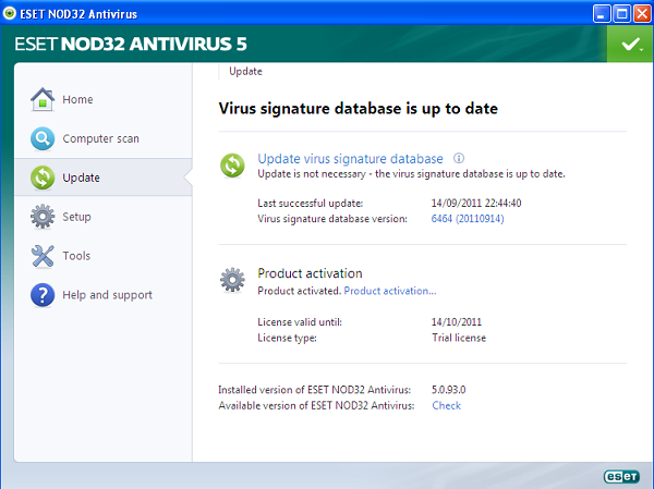 ESET NOD32 Antivirus 5 update