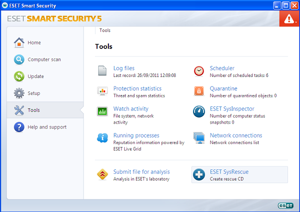 ESET Smart Security 5 tools
