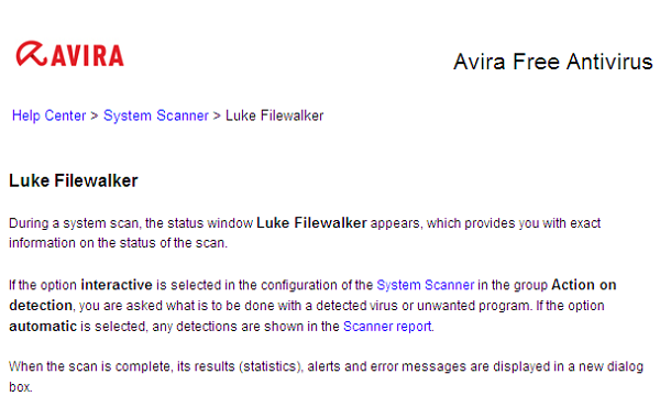Avira Free Antivirus 2012 Luke Filewalker