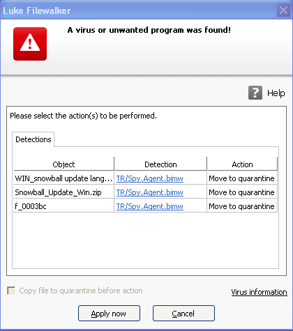 Avira Free Antivirus 2012 false positive