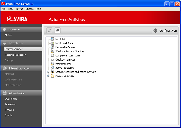 Avira Free Antivirus 2012 scanning options