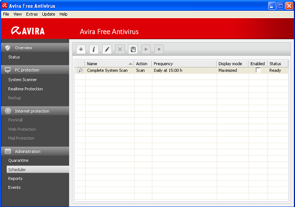 Avira Free Antivirus 2012 scheduled scanning