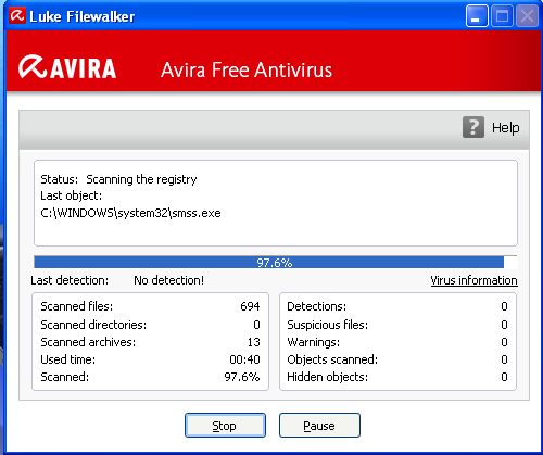 Avira Free Antivirus scans on installation