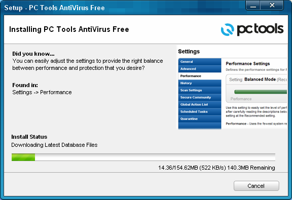 PC Tools Antivirus Free v9 installation