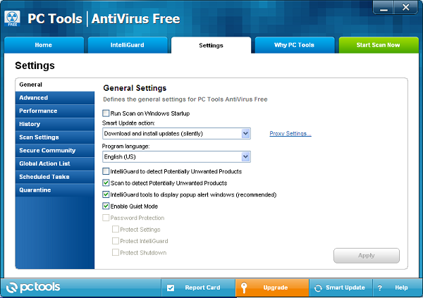 PC Tools Antivirus Free v9 scan settings
