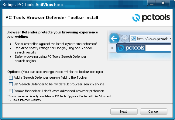 PC Tools Antivirus Free v9 toolbar