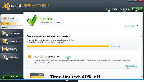 Avast Free Antivirus 6 interface