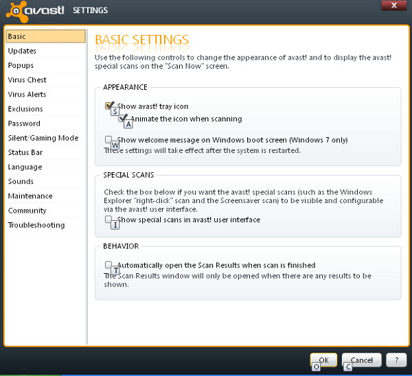 Avast Free Antivirus 6 settings