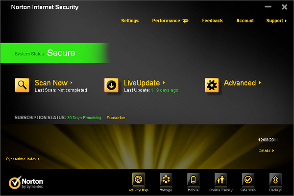 Norton Internet Security 2012 interface