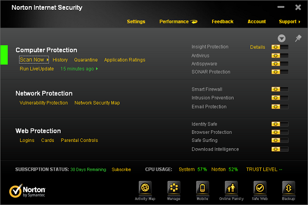 Norton Internet Security 2012 settings