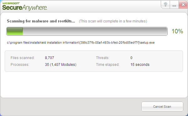 Webroot Secure Anywhere installation