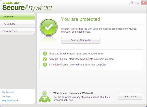 Webroot Secure Anywhere interface
