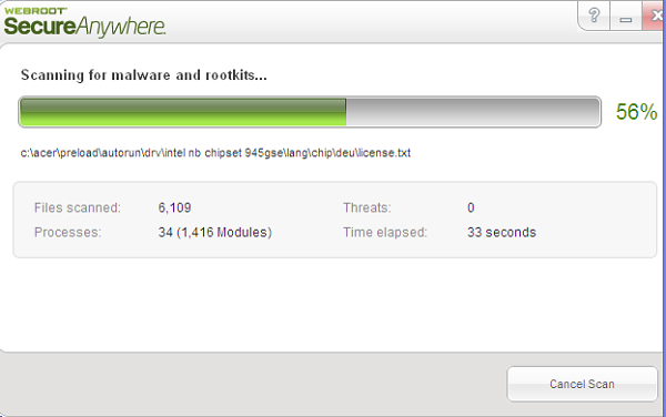 Webroot Secure Anywhere scanning