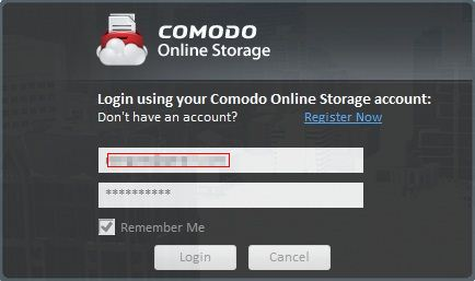 Comodo Backup login