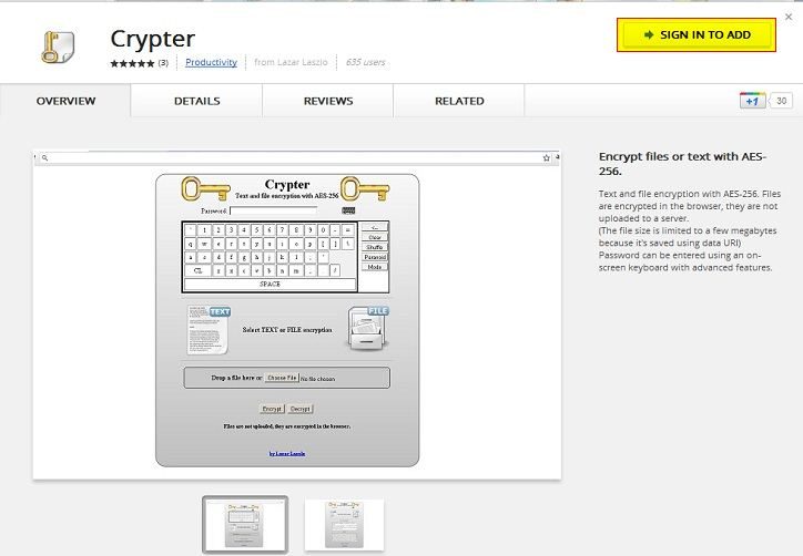 Crypter for Chrome