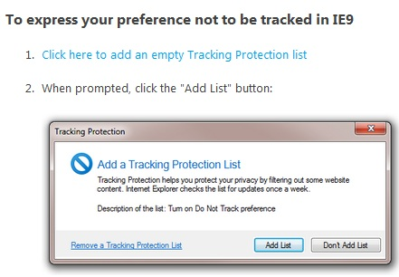Do not track IE9