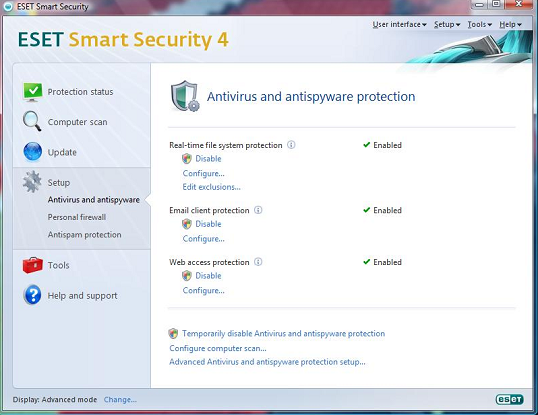 ESET Smart Security antivirus and antispyware protection