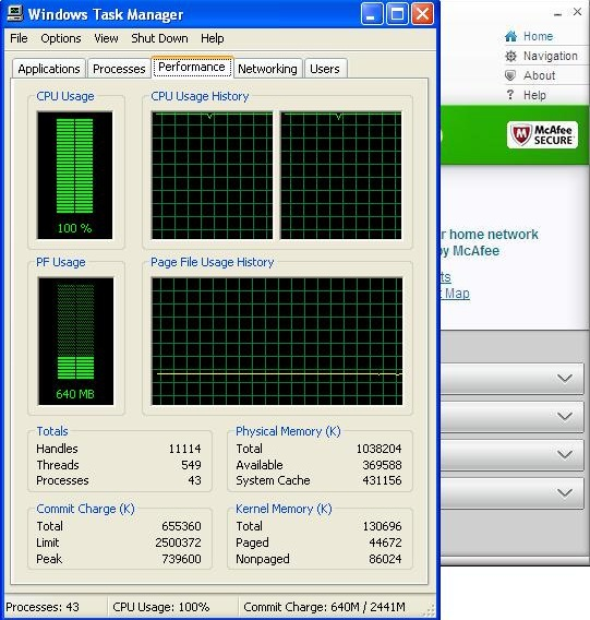 McAfee Antivirus Plus 2012 resource usage