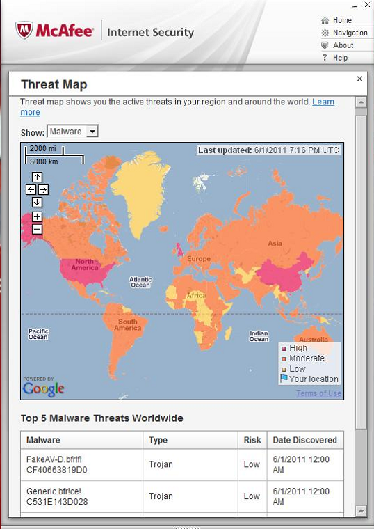 McAfee Internet Security 2011 threat map